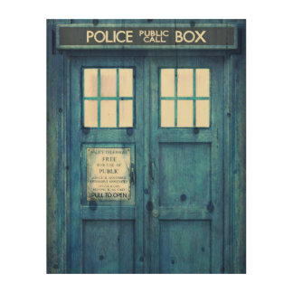 Vintage Police phone Public Call Box Wood Print