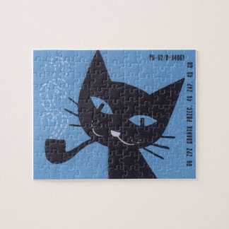 Vintage Polish Matchbox Label Cat Smoking Pipe Jigsaw Puzzle