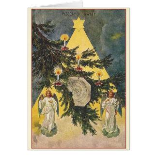 Vintage Polish Wesołych Świąt Christmas Card