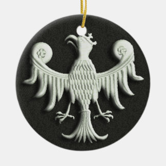 Vintage Polish White Eagle Ceramic Ornament