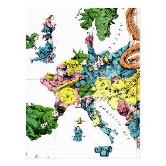 Vintage Political Cartoon Map of Europe (1877) Postcard