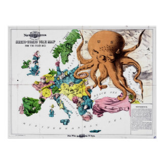 Vintage Political Cartoon Map of Europe (1877) Poster