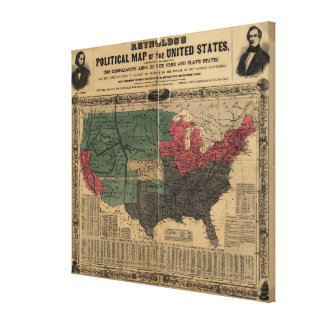 Vintage Political Map of The United States (1856) Canvas Print