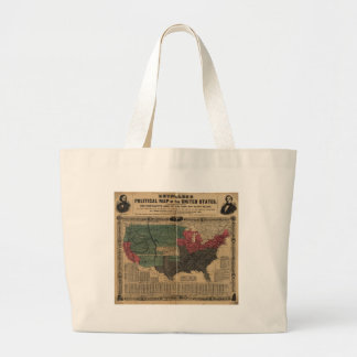 Vintage Political Map of The United States (1856) Large Tote Bag