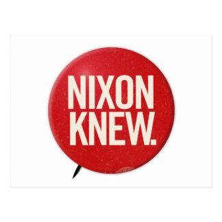 Vintage Political Richard Nixon Button Nixon Knew Postcard