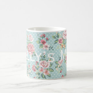 Vintage Polka Dot Roses Pattern Personnalised Coffee Mug