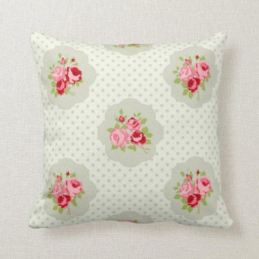 Shabby Chic White Throw Pillows : Vintage polka dot teal floral white shabby chic throw pillow Zazzle