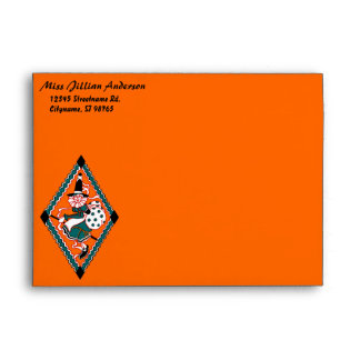 Vintage Polka Dot Witch | Custom 5x7 Envelope