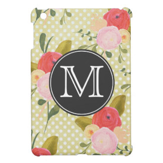 Vintage Polka Dots Flowers Monogram iPad Mini Case