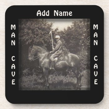 Vintage Polo Horse Photograph Man Cave Coaster