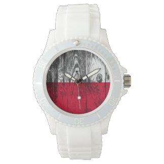 Vintage Polonia bandera madera Watch Relojes De Mano