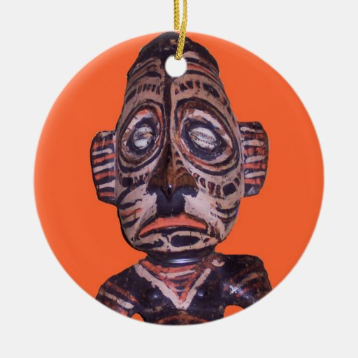 Vintage Polynesian Mask Double-Sided Ceramic Round Christmas Ornament
