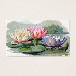 Vintage Pond Lilies Reversible Bookmarks Business Card