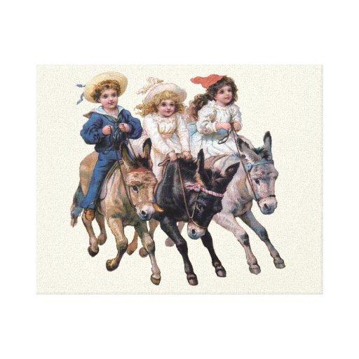 Vintage Ponies and Cute Children Canvas Print