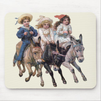 Vintage Ponies and Cute Children Mouse Pad