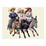 Vintage Ponies and Cute Children Post Card
