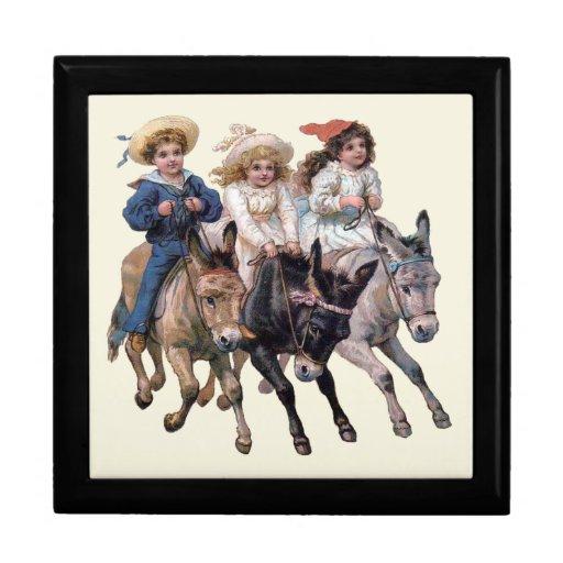 Vintage Ponies and Cute Children Trinket Box
