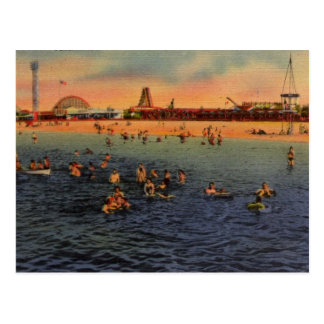 Vintage Pontchartrain Beach Artwork Postcard