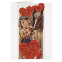 Vintage Pony Valentine's Day Greeting Card