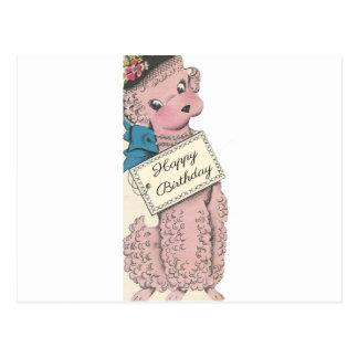 Vintage Poodle Happy Birthday Postcard