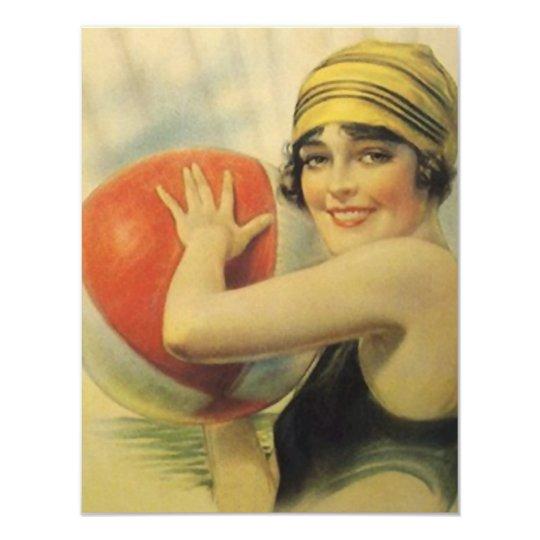 Vintage Pool Party Beach Invitation Flapper Cloche