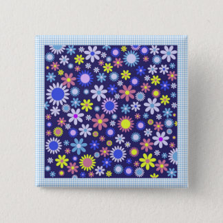Vintage Pop Art Style Daisies on Blue Gingham Button