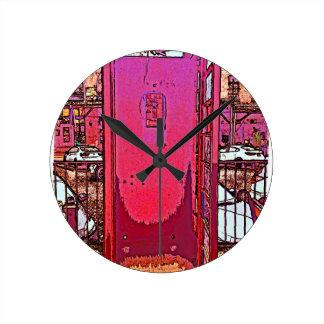Vintage Pop Magenta Pink Phone Booth Round Clock