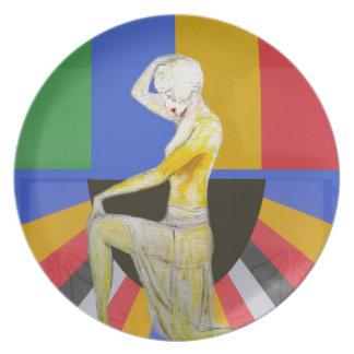 Vintage popart art deco dancer design plate