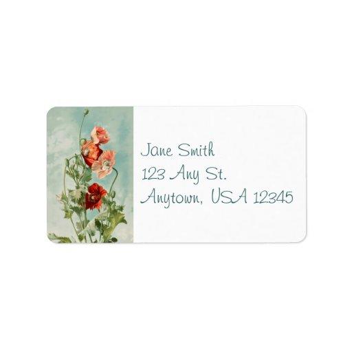 Vintage Poppies Address Labels