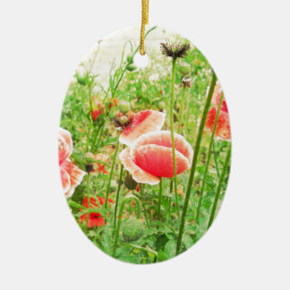 Vintage Poppies Double-Sided Oval Ceramic Christmas Ornament