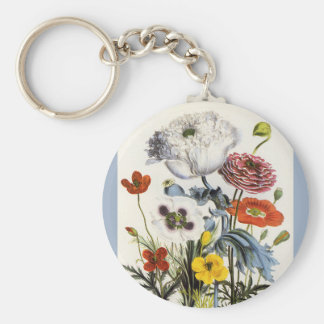 Vintage Poppies in the Garden, Victorian Flowers Keychain