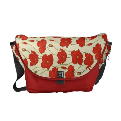 Vintage Poppies Wallpaper Courier Bag