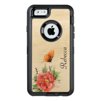 Vintage Poppy and Butterfly OtterBox Defender iPhone Case