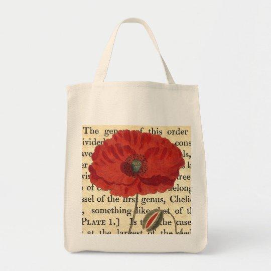 Vintage Poppy Antique Botanical Collage Tote Bag