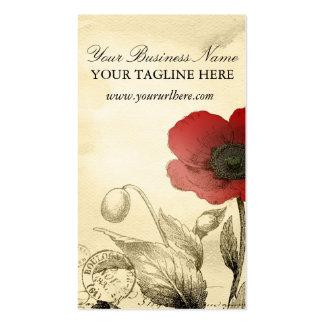 Vintage Poppy Business Cards - Ephemera Floral