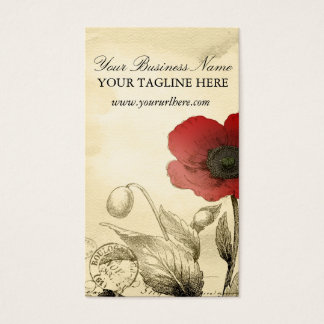 Vintage Poppy Business Cards - Ephemera Floral