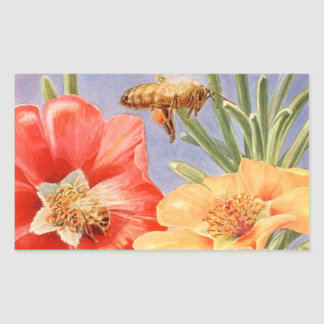 Vintage Poppy Flowers Honey Bee Pollen Stickers
