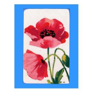 Vintage Poppy Print Postcard