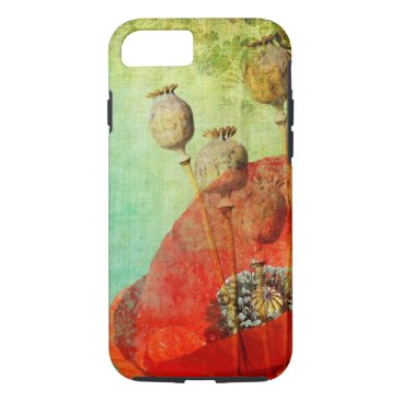 Vintage Poppy red and green iPhone 7 case