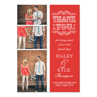 Vintage Poppy Red Wedding Thank You Photo Cards