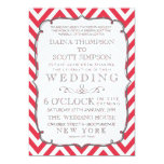 Vintage Poppy Red & White Chevron Stripes Wedding 5x7 Paper Invitation Card