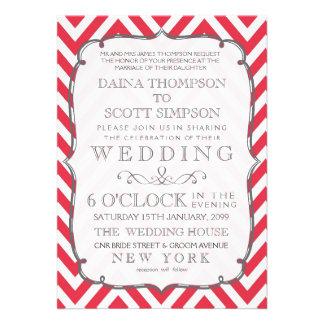 Vintage Poppy Red & White Chevron Stripes Wedding Custom Invitation