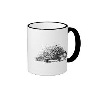 Vintage Porcupine Illustration - 1800's Porcupines Ringer Coffee Mug
