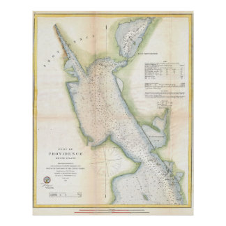 Vintage Port of Providence Rhode Island Map (1865) Poster