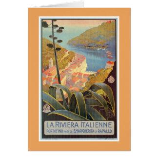 Vintage Portofino Italian Riviera travel poster Card