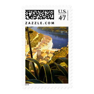 Vintage Portofino Riviera Italy Travel Stamp