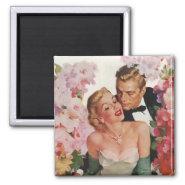 Vintage Portrait, Bride Groom, Newlyweds w Flowers Refrigerator Magnet