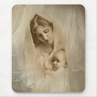 Vintage Portrait, Loving Mother Holding Baby Child Mouse Pad