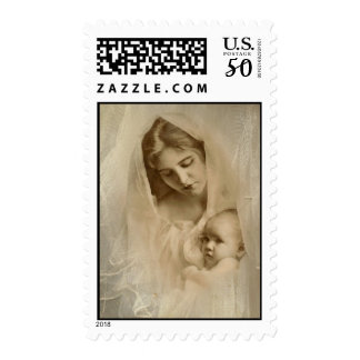 Vintage Portrait, Loving Mother Holding Baby Child Postage