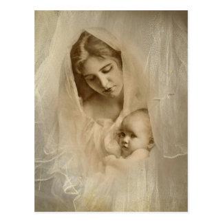 Vintage Portrait, Loving Mother Holding Baby Child Postcard
